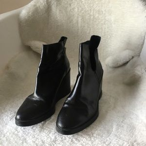 Miista black leather booties